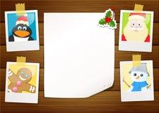 Photos de Noël avec une feuille de papier blanc Images stock