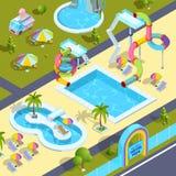 Photos des attractions extérieures dans le parc aquatique Illustrations isométriques de vecteur illustration stock