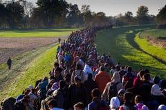 Photos dramatiques de la crise slovène de réfugié Photo libre de droits