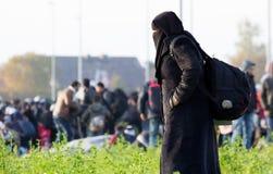 Photos dramatiques de la crise slovène de réfugié Image stock