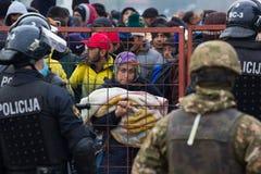 Photos dramatiques de la crise slovène de réfugié Image libre de droits