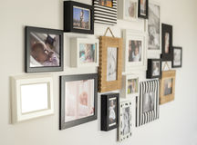 Photos of the family in various photo frames Royalty Free Stock Photography