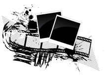 Photos and filmstrip - grunge style. Illustration of photos and a film stripe on a grunge background Stock Images