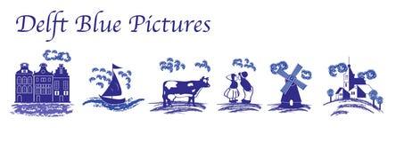 Photos folkloriques bleues de Delft Images stock