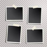 Photos four sticks. Four blank instant photos isolated with transparent shadow, layered and editable vector illustration Royalty Free Stock Photos