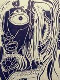 Photos fraîches aléatoires d'art psychadellic trippy de croquis d'illustration de dessin Images stock