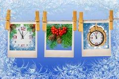 Photos frames on christmas background Stock Photos