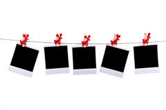 Photos frames with christmas ornaments Stock Images