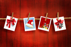 Photos Frames On Rustic Red Wood Stock Image