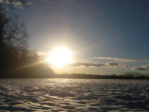 Photos from a frosty rural landscape sunset Stock Photos