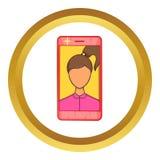 Photos girls in mobile vector icon Stock Photography