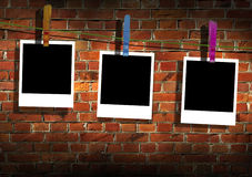 Photos Hanging on a Clothes Line Royalty Free Stock Photography