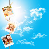 Photos of holiday people hanging on clothesline Royalty Free Stock Photography