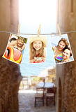 Photos of holiday people hanging on clothesline Stock Photos