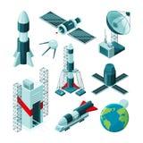 Photos isométriques de différents outils et constructions pour le centre spatial illustration libre de droits