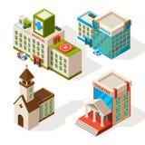 Photos isométriques des bâtiments municipaux Isolat d'architecture du vecteur 3d sur le blanc illustration de vecteur