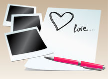 Photos and love letter Royalty Free Stock Photography