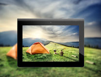 Photos mountain landscape with a tent Royalty Free Stock Image