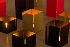 Photos of design pieces, beautiful modern candles Royalty Free Stock Images