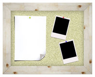 Photos and notes on cork board Royalty Free Stock Photography