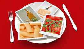 Photos of pasta ingredients Royalty Free Stock Image