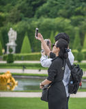Photos and selfies in Versailles park Royalty Free Stock Photography