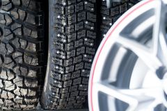 Alloy Wheels & Tyres. Photos from the shop. Sale of tires and wheels.Summer and winter season Royalty Free Stock Images