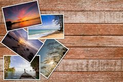 Photos stack on vintage grunge wooden background Royalty Free Stock Images