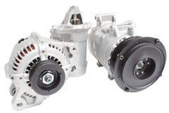 Photos sur la composition des trois pièces pour le moteur Générateur, compresseur de climatisation et le démarreur Images libres de droits