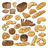 Photos tirées par la main colorées de pain frais et de différents types de nourriture de boulangerie Baguette, croissant et d'aut Illustration de Vecteur