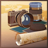 Photos and travels. Stylized vector illustration on the theme of photography and travels. The camera, lenses and maps Royalty Free Stock Images