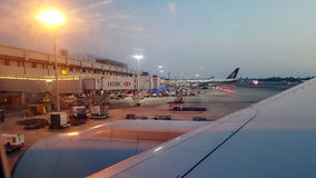Photos from the window of the plane. Changi Airport,Singapore-January 7,2016:Beautiful sky view from the window of the plane Royalty Free Stock Photos
