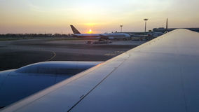 Photos from the window of the plane. Changi Airport,Singapore-January 7,2016:Beautiful sky view from the window of the plane Stock Photo