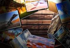 Photos on the wood desk Royalty Free Stock Photo