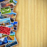 Photos on wooden background. Creative photo gallery concept: collection of colorful photos on background made from wooden planks vector illustration