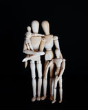 Photos Wooden Dolls, Happy Family With Children On Black Background Royalty Free Stock Images