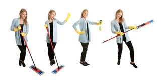 Photos of young cleaning woman Royalty Free Stock Images