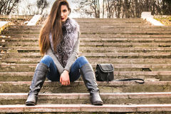 Photosession улицы девушки Стоковая Фотография