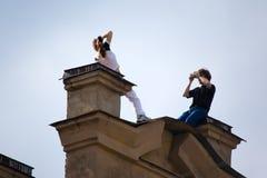 Photosession em um telhado Fotografia de Stock Royalty Free