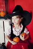 Photosession on Halloween. Children and interior for Halloween royalty free stock image