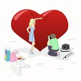 Photosession near a big heart. A man make a shoot of beauty woman at a big heart. vector illustration Royalty Free Stock Photography