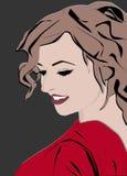 Красивая и загадочная женщина представляя для photoshoot иллюстрация штока