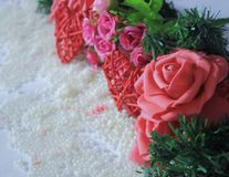 Photoshoot of flower and decoration valentine. Valentine`s day. Collection stock photography