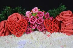 Photoshoot of flower and decoration valentine. Valentine`s day. Collection royalty free stock images