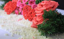 Photoshoot of flower and decoration valentine. Valentine`s day. Collection royalty free stock photography