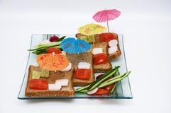 Verbeelding met decoratieve paraplu's en groenten. Royalty-vrije Stock Afbeeldingen