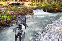 Photoshooting with camera on tripod Stock Photography