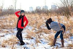 Photoshooting en hiver Photos stock