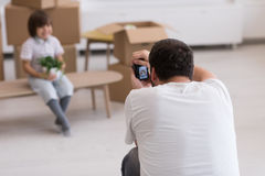 Photoshooting with kid model. At studio as new modern home Royalty Free Stock Photos