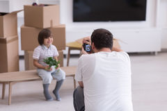 Photoshooting with kid model. At studio as new modern home Stock Photography
